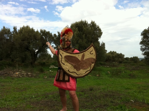 Peltast armed with Illyrian helmet, spear and heavy linothorax.