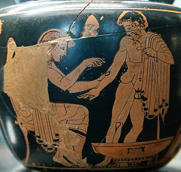 Doctor practices on patient (Attic red-figure kylix, c. 500 BC). Image may be subject to copyright