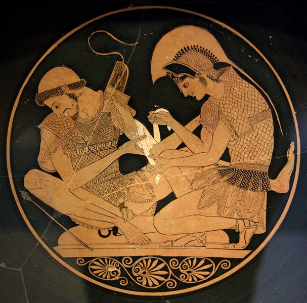 Achilles tending the wounded Patroclus (Attic red-figure kylix, c. 500 BC). Image may be subject to copyright