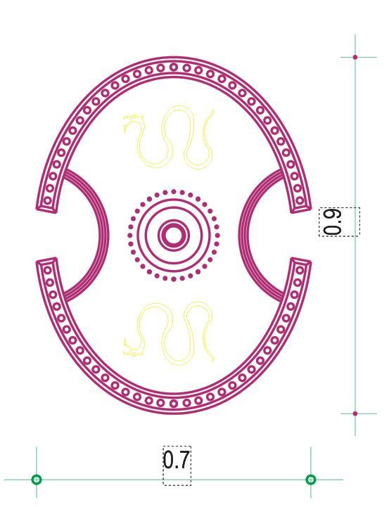 Ασπίδα «Βοιωτικού» τύπου βασιζμένη σε παραστάσεις του ζωγράφου Εξεκία (Βρεταννικό Μουσειο) - Boetian Shield, based on pottery representations of Exekias painter (British Museum). Design by Nikolakopoulos Dimitris, Architect