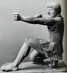 Figure 13. The half-kneeling position is standard for greek classical archery. Image may be copyrighted.