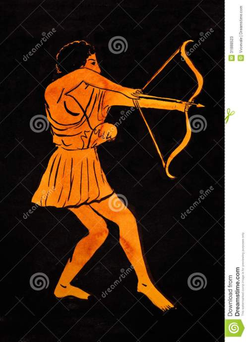 Figure 17. The Greek archers' is high-head aiming is seen in paintings. Image may be copyrighted.