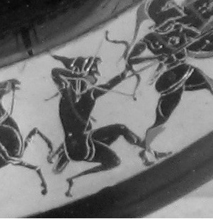 "Figure 1d. Due to Peisistratos hiring, Scythian Archers are shown in ""parentaxis"" in greek hoplite phalanx during the late 6th century. Image may be copyrighted."