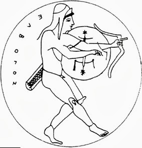 Figure 8. With pelte shield, light, small and rimless, the holding of the bow when standing while having the shield at the forearm at the ready is easy. The shield is moved a bit up and the antilabe is at the wrist instead of the palm. Image may be copyrighted.