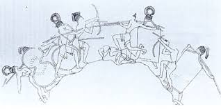 Figure 9. Mycenean Archers are combined with body-shield infantry; they are standing if not pacing also. Image may be copyrighted.