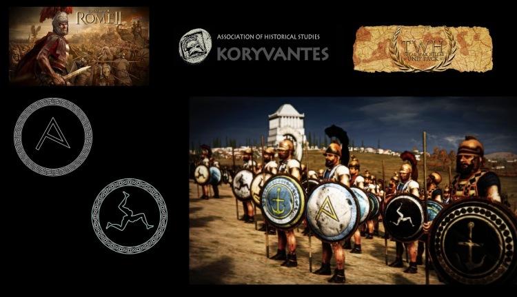 "Shield devices (Emblems - Εμβλήματα) of Athenian Marines (Pezonautes - Πεζοναύτες) with Triskelis and Athenian City Emblem (A) for theTW Unit ""Epivates - Athens"" - Design by Dimitrios Nikolakopoulos, Architect"