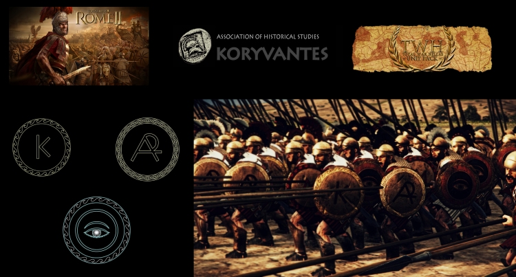"Shield devices (Emblems - Εμβλήματα) of Corinthos (K) , Arcadia (AR), and Argos (eye) City-States for the TW Unit ""Pelloponessian Fallangites - Sparta"" - Design by Dimitrios Nikolakopoulos, Architect"