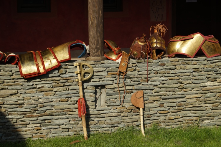 Reconstruction of plate Mycaenean armor and helmets, during presentation in Viminacium Museum (Serbia). Association of Historical Studies KORYVANTES