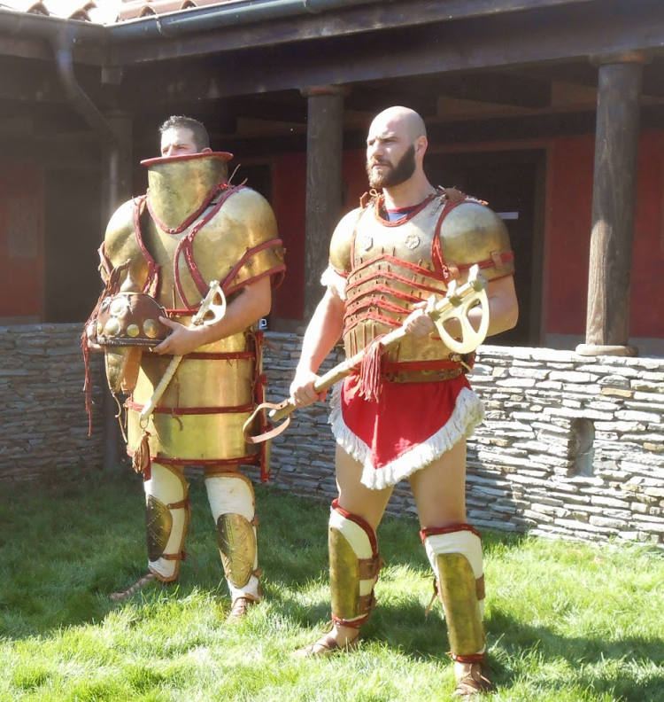 Reconstruction of plate Mycaenean armors, during presentation in Viminacium Museum (Serbia). Association of Historical Studies KORYVANTES
