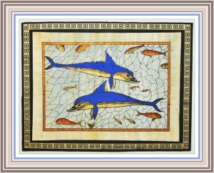 Replica of the Dolphin Fresco Knossos on papyrus