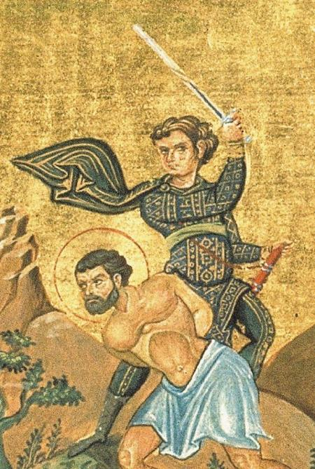 Menologion of Basil II: Theopemptus of Nicomedia. Executor stance similar to the 3rd guard position. Image may be copyrighted. Source http://commons.wikimedia.org/