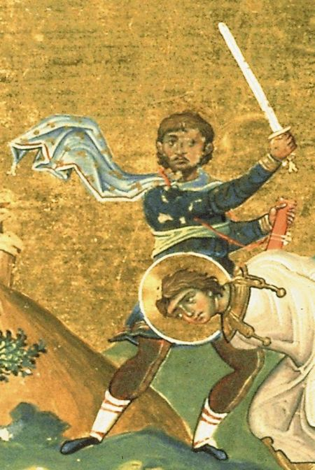 Menologion of Basil II:  Tryphon of Campsada. Stance similar to the 3rd guard, 'to the left the third'.  Image may be copyrighted. Source http://commons.wikimedia.org/