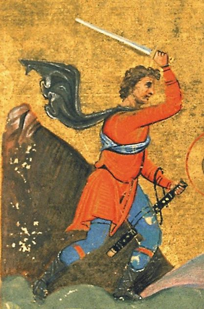 Menologion of Basil II: Tatiana of Rome. Stance similar to the 4th guard of the MS I.33, 'to the head give the fourth'. Image may be copyrighted. Source http://commons.wikimedia.org/