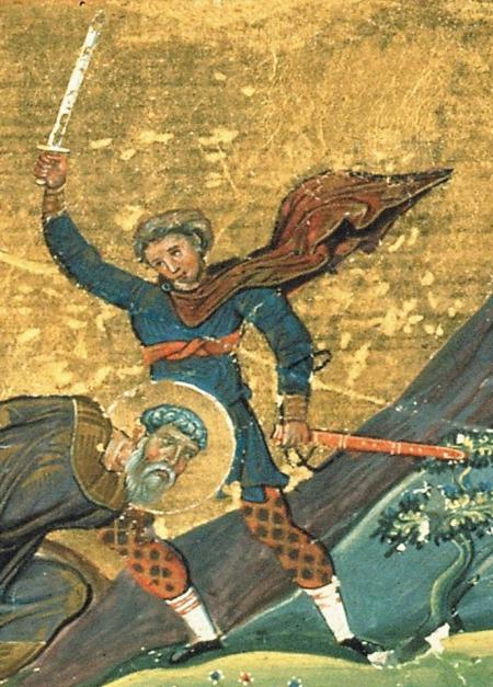 Menologion of Basil II: Polyeuctus of Melitene. Probably the warrior is starting his strike from the 4th guard and the artist show the moment after the begin of the strike. Image may be copyrighted. Source http://commons.wikimedia.org/