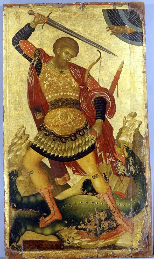 St. Theodore Teron. Icon of 15th century, Byzantine Museum of Athens. Image mey be copyrighted. www.byzantinemuseum.gr