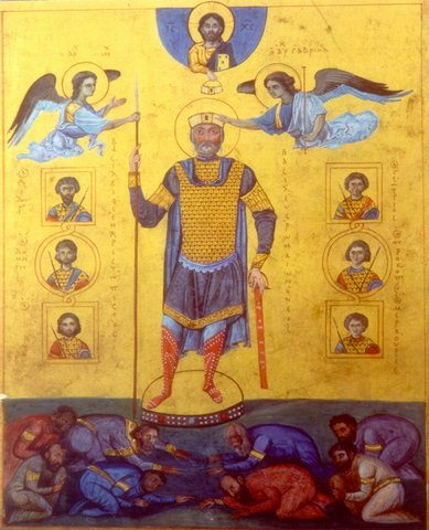 Menologion of Basil II: Famous image of Basil II, Constantinople, c. 1000.  Image may be copyrighted. Source http://commons.wikimedia.org/