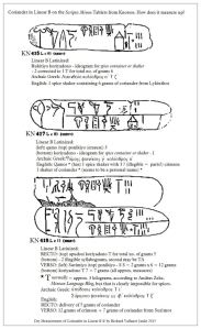 measurmenrt of Coriander in Linear B on 3 tablets from Scripta Minoa