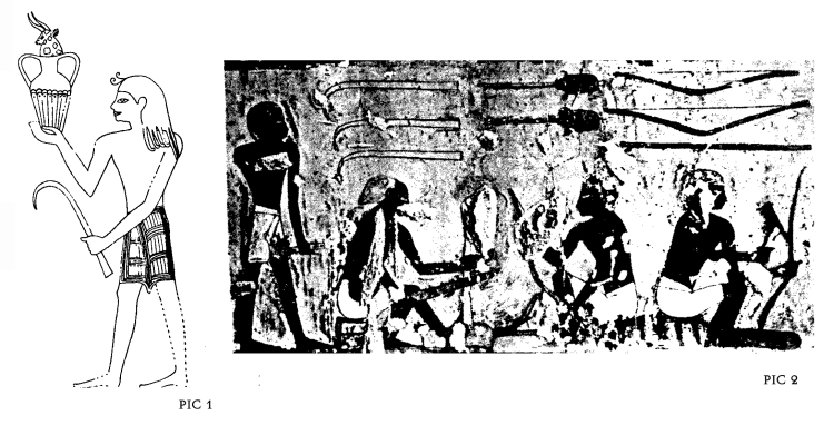 "Pic 1: ""Foreign tribute scene"" from the tomb of tomb of Menkheperreseneb with a Minoan bearing a goat-horn. (Watchman, S., Aegeans in Theban Tombs, Orientalia Lovaniensia Analecta 20, Uitgeverij Peeters Leuven 1987, plate XXXVI ) Pic 2: Horns as they appear in the the scenes of ""bowyers workshops"" from the tomb of Menkheperreseneb. (Watchman, S., Aegeans in Theban Tombs, Orientalia Lovaniensia Analecta 20, Uitgeverij Peeters Leuven 1987, plate LIX )"