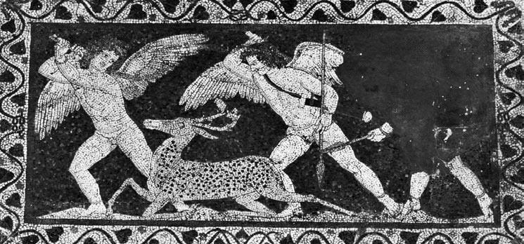 Εναλλακτική χρήση του όπλου: Κυνήγι Ελαφιού από φτερωτούς Έρωτες και πλήξη του ζώου από την αριστερή μορφή με θλαστικό χτύπημα στο κεφάλι από κλειστή θέση. Μωσαϊκό του 3ου π.Χ. αιώνα από το Shatby της Αιγύπτου. Image may be copyrighted.