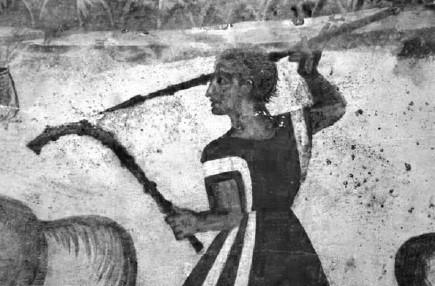 Αποτύπωση σκηνής κυνηγιού τοιχογραφίας Θρακικού τάφου του 3ου αιώνα π. Χ από το Alexandrovo της Βουλγαρίας. Ο κυνηγός κρατάει στο αριστερό του χέρι ένα λαγωβόλο. Image may be copyrighted.