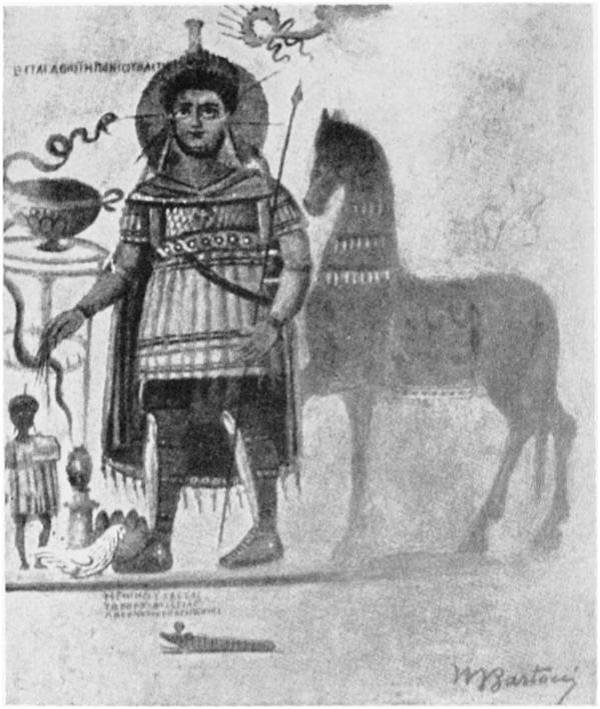 """Η Ελληνιστική Στρατιωτική παράδοση σωζόμενη στους πρώτους μεταχριστιανικούς αιώνες μέσω του θρησκευτικού συγκρητισμού. Ο Ελληνο-Αιγυπτιακός θεός-πολεμιστής Ήρων ,μια θεότητα που η λατρευτική της αφετηρία, με φωτοστέφανο και στρατιωτική περιβολή. Αυτό που είναι αξιοσημείωτο είναι ότι αιώνες μετά την κατάλυση των Ελληνιστικών Βασιλείων στην Ρωμαϊκή Αίγυπτο ο Θεός αποτυπώνεται να φέρει ελληνιστικό θώρακα με φολίδες και διπλή σειρά μακριών πτερύγων, και επίθεμα γοργόνειου στο στήθος , αποτυπώνοντας μια κλασσική μορφή πολεμιστή ευγενούς καταγωγής των Ελληνιστικών Στρατών. Πηγή φωτογραφίας : Ernst H. Kantorowicz, """"Gods in Uniform"""" , Proceedings of the American Philosophical Society, Vol. 105, No. 4 (Aug. 15, 1961), p369. Image may be copyrighted."""